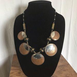 Vintage Jewelry - Vintage Mod Copper & Brass Metal Disc Necklace